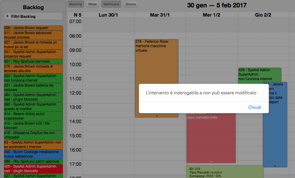 Eventi inderogabili - Advanced Calendar per SysAid